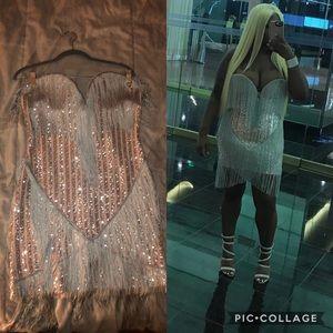 Nude & silver dress